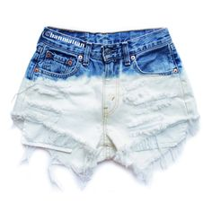 "ALL SIZES ""PLAINO"" Vintage Levi high-waisted denim shorts blue ombre... ($25) ❤ liked on Polyvore featuring shorts, bottoms, pants, short, high-rise shorts, vintage jean shorts, high waisted jean shorts, jean shorts and short jean shorts"