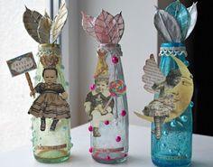 Altered Fairy Scraps used on bottle vases designed by Nathalie Kalbach for Crafty Secrets