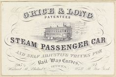 Specimen trade card Grice & Long Steam Passenger Cars