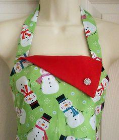 Cute Topsy Turvy Snowman / Snowmen Retro Christmas Apron.