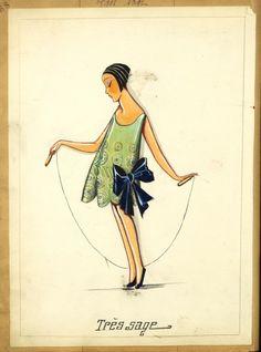 Jeanne Lanvin original childrenswear sketch from early 1900's