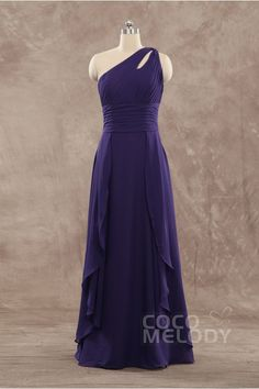 Fashion Charming Sheath-Column One Shoulder Natural Floor Length Chiffon Grape Sleeveless Zipper Evening Dress with Ruched COZF15009 #bridesmaiddress #cocomelody
