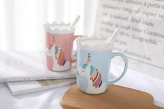 buy Creative Relief Glod Unicorn Coffee Mug with Spoon and Crown Lid Drinking Coffee Tea Cup Gift - wide free shpping Coffee Drinks, Coffee Cups, Tea Cups, Drinking Coffee, Pretty Mugs, Cute Mugs, Little Unicorn, Cute Unicorn, Unicorn Gifts