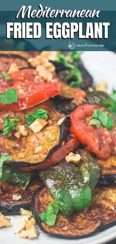 This tutorial is all you need to make the perfect fried eggplant! No fussy batter involved. Completely vegan and gluten free! And you'll love the Mediterranean twist with garlic, tomatoes and bell peppers! Vegetarian Dinners, Vegetarian Recipes Easy, Cooking Recipes, Healthy Recipes, Easy Recipes, Vegan Meals, Mediterranean Diet Recipes, Mediterranean Dishes, Mediterranean Style