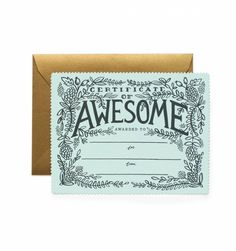 Certificate of Awesome Single Die Cut Flat Note