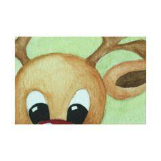 Rudolph Christmas Paintings On Canvas, Christmas Canvas, Christmas Projects, Christmas Art, Holiday Canvas, Canvas Art, Canvas Prints, Canvas Paintings, Mini Canvas
