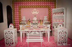 Decoração Princesa Dourado e Rosa   Foloni Personalizados   Elo7