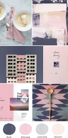 Pantone palette via The Lovely Drawer Blossom pink and dusk grey Web Design, Graphic Design, Design Ideas, Colour Board, Colour Colour, Colour Trends, Gold Colour, Orange Color, Color Stories