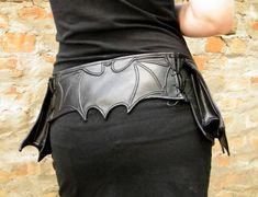 Black belt bag with bat wing bat hip bag black by FiMachine