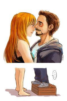 Tony & Pepper and a glimpse behind (below) the scenes of Iron Man 3.
