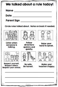 Revise to fit my classroom rules. Good parent communication idea