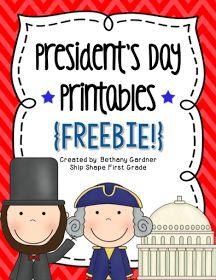 Ship Shape First Grade: President's Day Printables {Freebie!}