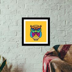 There might be a small signature from the artist. Colorful Owl, Study Office, Wooden Frames, Drawings, Artist, Home Decor, Sketches, Homemade Home Decor, Wood Frames