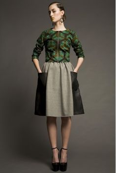 SERENA gray skirt with leather bags