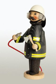 Fireman Firefighter German Wooden Christmas Incense Smoker Made in Germany New