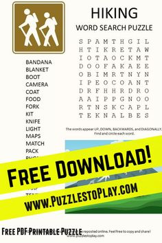 The Hiking word search puzzle is a fun look at the idea of going on a hike. The printable puzzle is a free download
