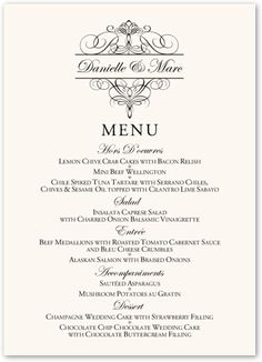 34 best wedding menu cards images on pinterest wedding menu cards flourish monogram 01 contemporary and classic wedding menu cards junglespirit Images