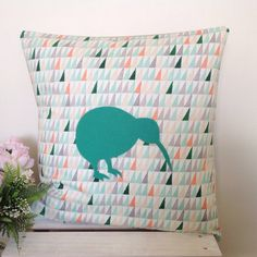 Cushion Cover Forest Fabric Green Teal Kiwi by natandalicreative