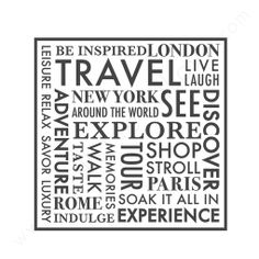 wall quotes wall decals - TRAVEL Word Collage from Walls Need Love. Travel Words, Places To Travel, Travel Destinations, Tourist Places, Travel Advice, Travel Quotes, Travel Tips, Travel Hacks, Car Travel