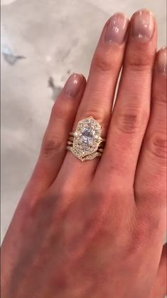 The Art Deco-inspired Estella halo engagement ring by Kristin Coffin Jewelry. Th… - Art Deco Engagement Ring Morganite Engagement, Engagement Wedding Ring Sets, Vintage Engagement Rings, Diamond Wedding Bands, Diamond Engagement Rings, Vintage Rings, Vintage Art, Halo Diamond, Canary Diamond
