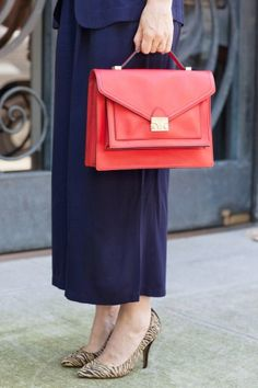 The 16 Outfits WE Wore To Fashion Week - via @Refinery29 ... @Christene Barberich with @Loeffler Randall Rider Bag in red. #fashion