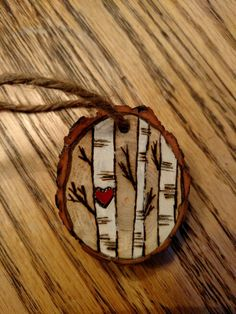 Rustic birch tree wood burned Christmas ornament