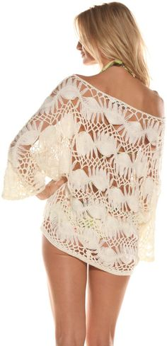 Off the Shoulders Hairpin lace tunic. Saida de Praia creme em crochê de grampo.