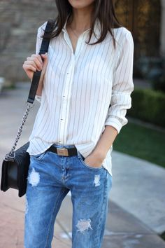 striped button up + BF denim