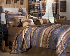 Blue Bedding, Bed Sets, Comforters, Duvet Covers, Quilts & Bedspreads: The Home Decorating Company Southwestern Bedding, Southwest Decor, Southwest Style, Console, Rustic Bedding, Western Bedding Sets, Country Bedding, Gray Bedding, Bed Styling
