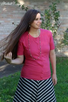 Modest Monday Link up and Summer fashion outfit - Pink summer cardigan and striped skirt