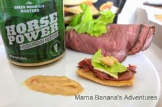 Fast, Easy and Delicious Appetizers; Roast Beef with Horse Power. Mama Banana's Adventures. #greenmountainmustard #mustard #eatwell #beef #appetizer #food #cooking