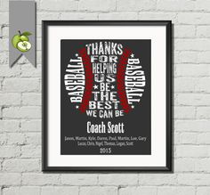 Baseball coach,  Appreciation gift, PE Phyical education, phys ed Coach, team, typography, Baseball team, Personalised sport, DIY Printable