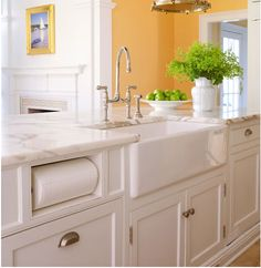 here's that sink again - love the papertowel roll idea!