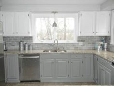 Grey kitchen cabinets - Our Oak Kitchen Makeover – Grey kitchen cabinets Off White Kitchen Cabinets, Gray And White Kitchen, Painting Kitchen Cabinets, Kitchen Redo, Kitchen Tiles, New Kitchen, Kitchen Remodel, White Cabinets, Upper Cabinets