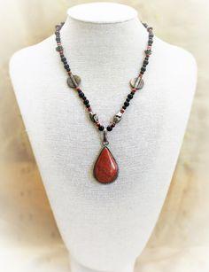 Goldstone Necklace Teardrop Pendant On Beaded Chain Vintage Boho Hippie