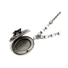 Gothic Lolita Jewelry - Locket Necklace with Rose | Ghostlove Jewelry ($45) ❤ liked on Polyvore featuring jewelry, rose flower jewelry, flower jewelry, locket jewelry, rose locket and goth jewelry