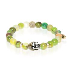Metaphysical | Gold Buddha Charm Olive Green Striped Agate Bracelet