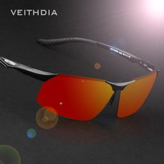 VEITHDIA Aluminum Magnesium Polarized Mens Sports Sunglasses Night Driving Blue/red Mirror Sunglasses Accessories For Men 6502