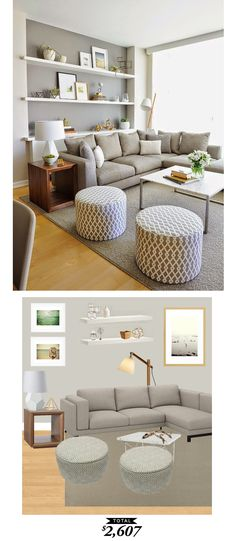 Living room: Warm grey contemporary living room gets recreated . Living Room Grey, Interior Design Living Room, Living Room Designs, Grey Room, Living Area, Style Deco, Contemporary Home Decor, Contemporary Shelving, Contemporary Living Room Furniture