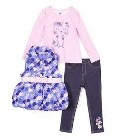 Pink & Purple Belted Vest Set - Infant Toddler & Girls
