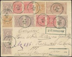 """Registered front cover fr. with 2x1l., 4x2l., 6x5l. and 20l. 1896 Olympic Games canc. """"ΘΗΡΑ*.ΑΥΓ.96"""" to Germany."""