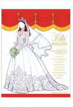 princessdianaremembered: The Paper Doll Circle-Back Cover of Kate Middleton's wedding dress