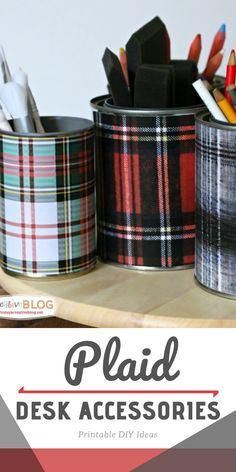 Printable plaid papers to create your own desk accessories. Great for holiday decorating, or any rustic designed office. See TodaysCreativeLife.com for the tutorial. Easy Diy Crafts, Crafts To Make, Home Crafts, Craft Projects For Adults, Diy Craft Projects, Diy Decorating, Holiday Decorating, Diy Ideas, Decor Ideas
