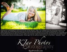 I love what I do and love my customers.  #Passionate about #SeniorPics.  www.kjayportraits.com Senior photos for girls.  Beutiful outdoor settings and using natural light.