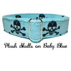 Black Skulls on Plush Baby Blue  by LuigisFineDogCollars on Etsy