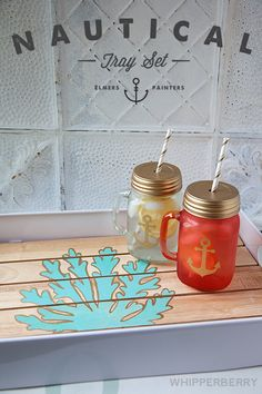 DIY Painted Nautical Tray Set with Silhouette Stencil Vinyl and Elmer's Painter's Markers. #WhipperBerry
