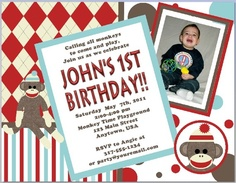 Customized Sock Monkey Birthday Invitations by PartytimeFun, $9.99