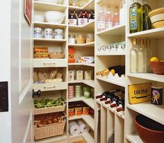Transform Home: Custom walk-in pantry with melamine storage shelves and rattan storage baskets. The ...