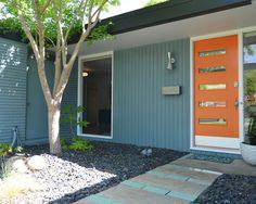 grey blue, white soffits, black & white trim, bright door