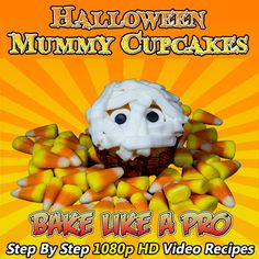 Halloween Mummy Cupcakes !  BakeLikeAPro   Please visit my Youtube channel for all my video recipes !  Easy to follow, step-by-step from beginning to end.  I make it easy for you to follow !  www.youtube.com/user/bakelikeapro